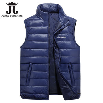 2017 Men's Vest Winter Brand solid Vest Male Fashion Cotton-Padded Waistcoat Jacket and Coat Warm