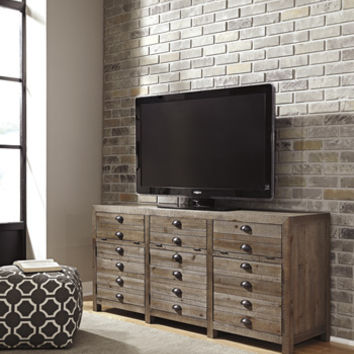 Keeblen ii collection casual style rustic greyish brown finish wood tv stand
