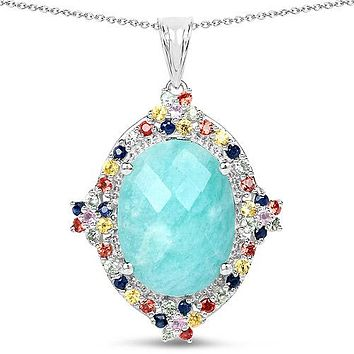 A Natural 16.15CT Oval Cut Aqua Amazonite with Blue Green Yellow Pink Orange Sapphire Pendant Necklace
