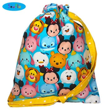 NEW! Tsum Tsum Knitting Bag-Disney Sock Bag-Drawstring Bag-Cute Project Bag