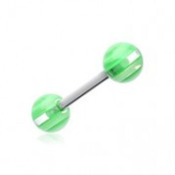 Clear Stripe UV Acrylic Barbell Tongue Ring