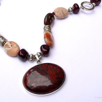 Red Jasper Necklace Silver Plated Pewter Garnet Quartzite Jasper Beaded Gemstone Necklace 18 Inches Fall Fashion Jewelry