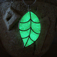 GLOW in the DARK Necklace - Green Leaf - Glowing Pendant - Glow in the Dark Jewelry - Glowing Pendant - Silver Plated - Handmade Necklace