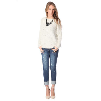 Women's Beige Speckled Sweater In Soft Touch Fabric