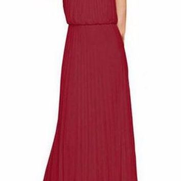 Women's Burgundy/Wine Halter Style Pleated Long Maxi Dress Perfect for Weddings Brides Showers Bridesmaids