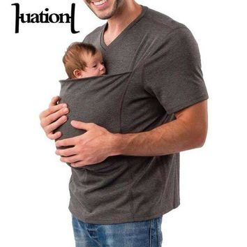 DCCKFS2 Huation 2018 Summer Baby Carrier Sling Kangaroo T-Shirt Men Multifunction Short Sleeve t-shirt for Dad Baby Crossfit Tee Shirt