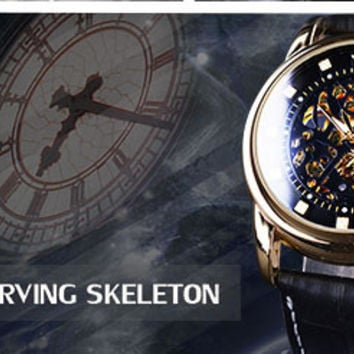 Brown Leather Strap Mens Watches Top Brand Luxury Mechanical Skeleton Watch