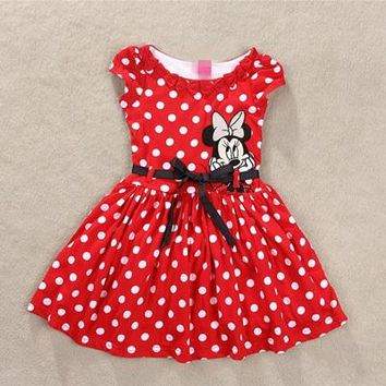 Summer Minnie Mouse Red White Polka Dot Dress