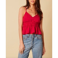 cotton candy la - let's talk - ruffle hem tank top - cranberry