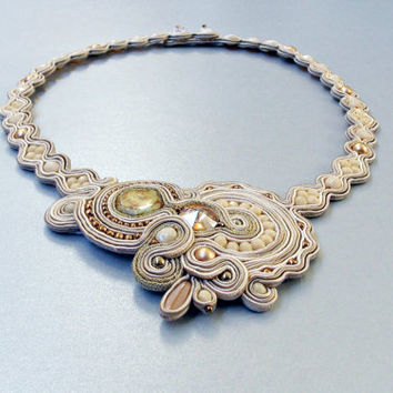 Ivory Soutache Wedding Jewelry Necklace Ooak Handmade Beaded Fashion Unique