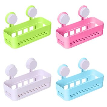 Suction Cup Bathroom Shelf Shampoo Holder Cosmetics Organizer Two Suckers Practical Storage Rack Bathroom Kitchen Tools