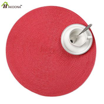 HAKOONA Round Placemats 4 Pieces Pearl Collection Garden Party Coral Woven Placemat 38cm*38cm  9 colors for choose
