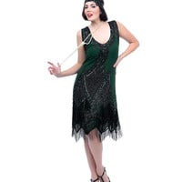 Forest Green & Black Embroidered Reproduction 1920s Flapper Dress