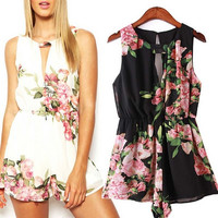 Women Summer Floral Print Sleeveless Backless Chiffon Jumpsuit Short Pant = 5617178433