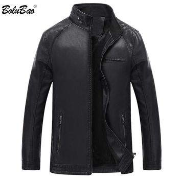 BOLUBAO 2018 Winter Mens Faux Leather Suede Jacket Male Lined Motorcycle Casual Stand Collar Fashion Leathers Jacket Coat Men