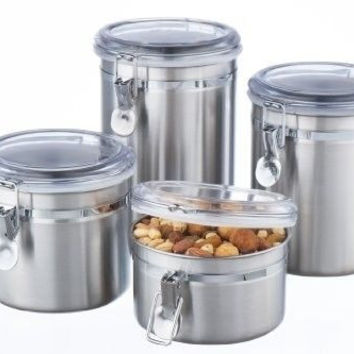 Storage Canister Set Kitchen Sugar 4 Pcs Coffee Tea Flour Lids Counter Jars New