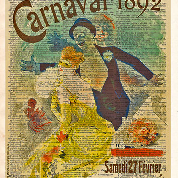 Theatre poster, unique wall art, Carnaval Opera poster 1892, masquerade ball,  vintage dictionary art print