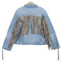 Light Blue Denim Jacket with Fringe Detail