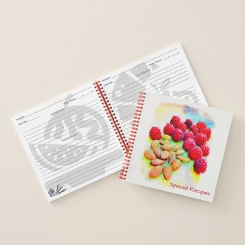 Raspberries and Almonds Watercolor Template Covers Notebook