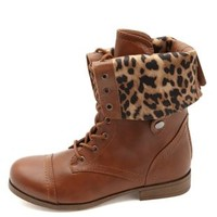 Cheetah-Lined Fold-Over Combat Boots by Charlotte Russe - Cognac