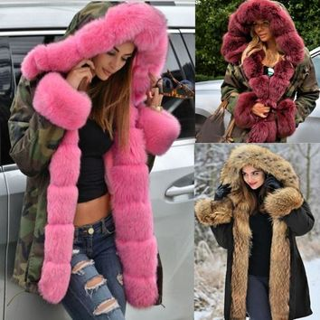 New Women Parka Casual Outwear Hooded Coat Fur Coats Manteau Female Woman Clothes  Plus Size S-5XL