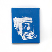 Vintage Camera Canvas Wall Art (Blue w/ White) Screenprint/Painting, Camera Print, Pop Art, Blue Home Decor, Old Fashion Camera Art