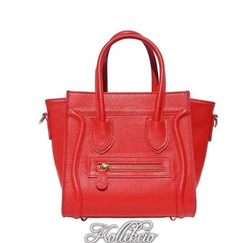 Red Genuine Italian Leather Handbag with Long Shoulder Strap