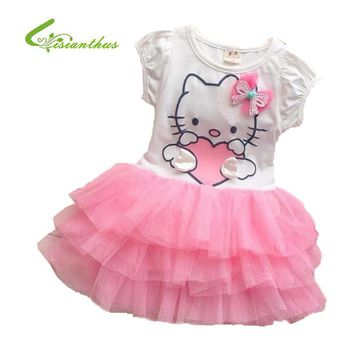 Summer Style Girls Dress Hello kitty Cartoon KT Wings TuTu Dress Bow Veil Kids Children Party Wedding Clothing Free Shipping