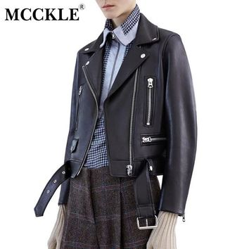 MCCKLE Women's Black PU leather Jacket 2017 Autumn Winter Punk Belt Coat Turn-down Collar Faux Leather Jackets