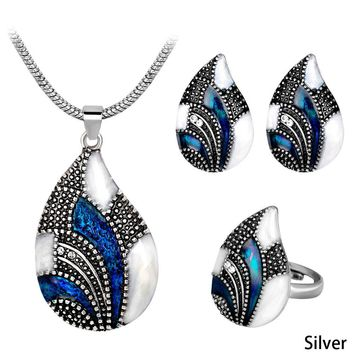 New Fashion Jewellery Necklace Set Vintage Black Rhinestone And Marquise Shape Resin Women Jewelry Sets