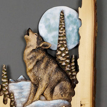 Wolf Carved on Wood Wood Carving Linden Tree with Bark Hand Made Gift Wall Art for the Wolf lovers Rustic OOAK Gift for a Hunter Cabin Deco