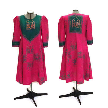 Vintage Dress / Indian Batik Dress / Pink and Green Ethnic Dress, L/XL
