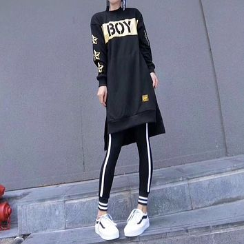 """Boy London"" Women Casual Letter Star Print Medium Long Section Long Sleeve Sweater Leggings Set Two-Piece Sportswear"