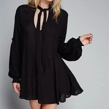 """Free People"" Fashion Solid Color V-Neck Bandage Long Sleeve Shirt Mini Dress"