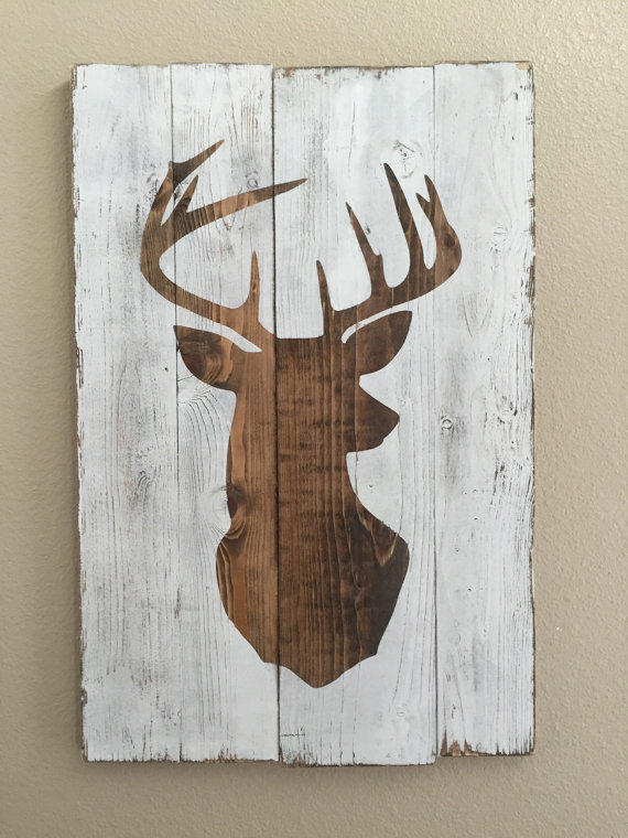 White distressed deer head silhouette from mellisajane on etsy