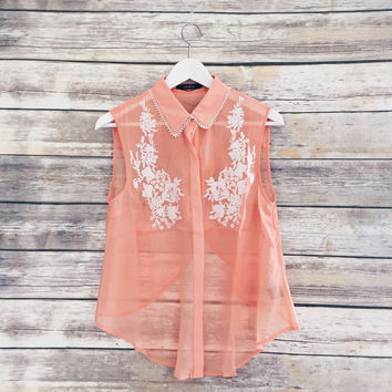 Hanna Salmon Embroidered Split Back Blouse