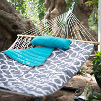 XL 13-Ft Cotton Hammock with Bronze Metal Stand- 450 lb Weight Capacity