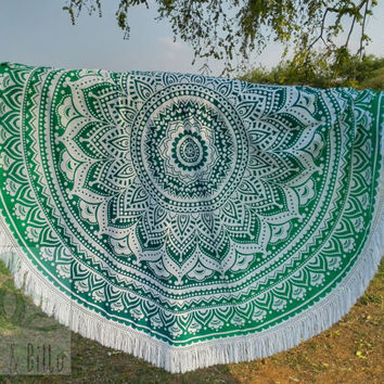 Round Beach throw mandala tapestry, roundies mandala, yoga mat, wall tapestry, round mandala, fringed, boho beach hippie ethnic style India