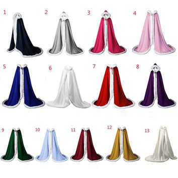 13 colors Long lady White Ivory Wedding Cloaks Faux Fur Trim Winter Bridal Cape Stunning Wedding Cape Hooded Party Wraps Jacket