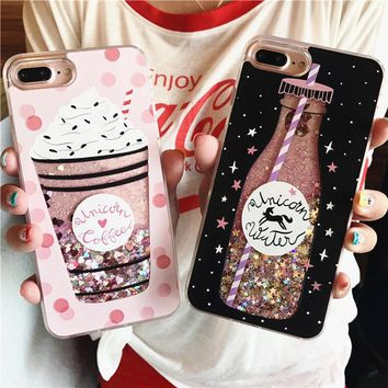 For iPhone 8 Plus Phone Case Drink Bottle /Ice Cream Printed Case For Apple iPhone 6 6S 7 Plus Fashion Glitter Quicksand Cover