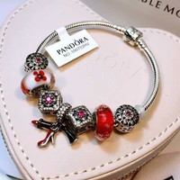 Authentic Pandora Women Fashion Crystal Plated Bracelet Jewelry 925 Sterling Silver Inspirationa Purple Red