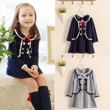 Kids Girls School Uniform Long Sleeve Skater Double Breasted Jumper Party Dress