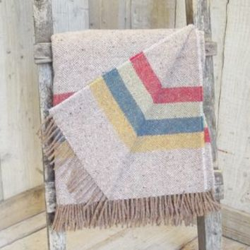 ' Natural Wide Stripe ' Tweed Throw