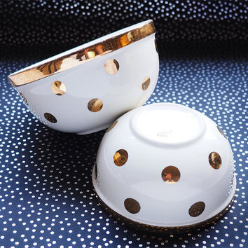 Set of 2 Hall's Gold on Cream Zeisel Polka Dot Bowls No. 1376 and 1377
