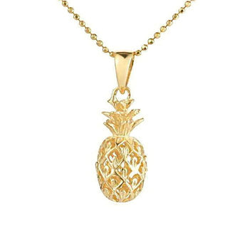 8MM YELLOW GOLD PLATED STERLING SILVER 925 3D HAWAIIAN PINEAPPLE PENDANT