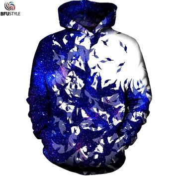Birds Space Galaxy Hoodies Men 2017 Autumn Winter Unisex 3D Printed Hoodie Sweatshirt Casual Pullover Hoodie Hooded Dropship