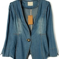 One Button Placket Denim Jacket - OASAP.com