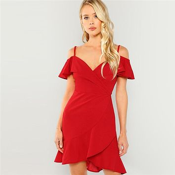 dc2813f29e3 COLROVIE Red V Neck Wrap Ruffle Sexy Bodycon Dress 2018 Autumn C