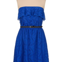 Belted Lace Ruffle Dress - Blue