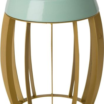 Ellis Metal Stool/Table Powedercoated Gold With A Sage Ceramic Top